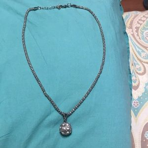 Silver necklace. With ball on bottom